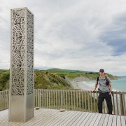 The author at the Te Ara Matairangi Monument