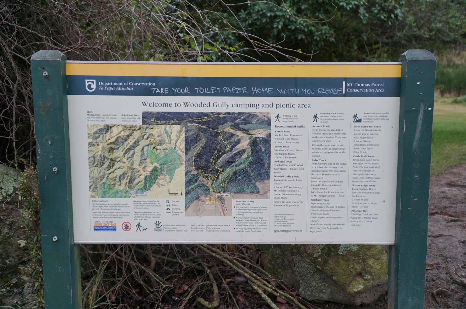 Info board and map at the car park